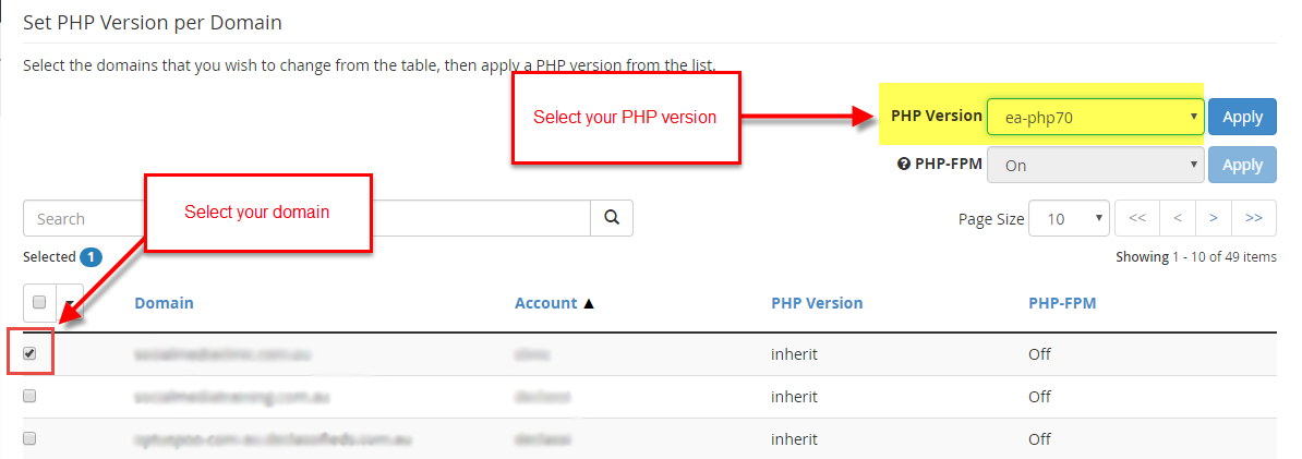 Change PHP Version in WHM